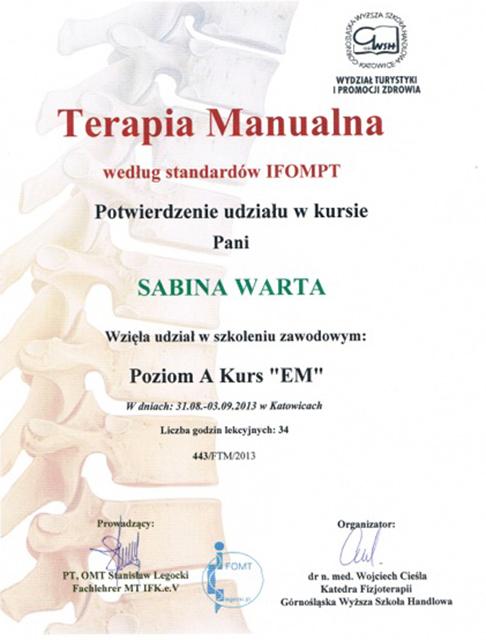kurs terapia manualna poziom EM